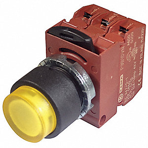 Illum Push Button Operator,22mm,Yellow