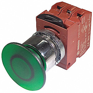 Illuminated Push Button Operator, Green, Maintained Push / Pull Action, 130VAC/DC Lamp Voltage