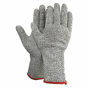 Uncoated Cut Resistant Gloves, ANSI/ISEA Cut Level 4, HPPE Lining, Gray, M, PR 1