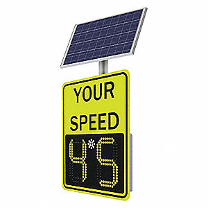 Your Speed/Digital Display LED Radar Speed Display Sign, Amber LED Color, Power Requirements: Solar
