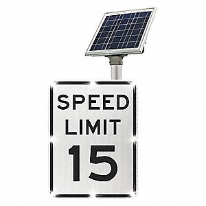 Speed Limit 15 LED Traffic Sign, White LED Color, Power Requirements: Solar