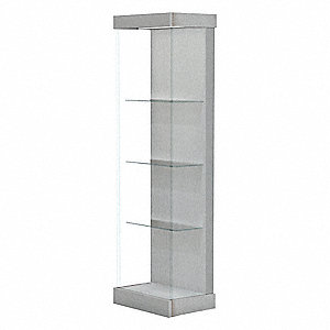 Floor Display Case,Brushed Silver,24in.L
