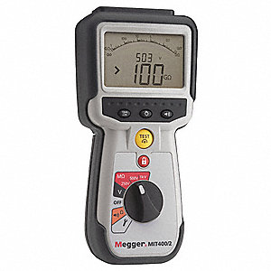 Backlit LCD Battery Operated Megohmmeter; Insulation Resistance Range: 0 to 200 gigohm