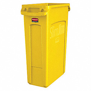 "Slim Jim® 23 gal. Rectangular Open Top Utility Trash Can, 30""H, Yellow"