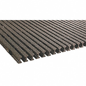Dark Gray Industrial Pultruded Grating, Vi-Corr Resin Type, 8 ft. Span, Grit-Top Surface