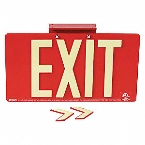 Exit Sign,9-1/2 in. H,Surface
