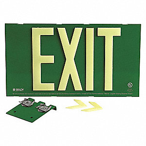 Exit Sign,8-3/4 in. H,Green,Single T-Bar