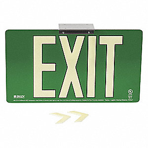 Exit Sign,15-3/4 in. W,Aluminum,Green