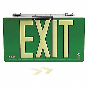 Exit Sign,9 in. H,Aluminum,Green