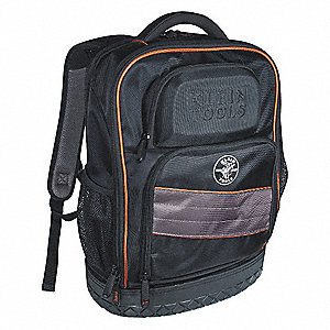 "25-Pocket Polyester General Purpose Tool Backpack, 18-1/4""H x 14""W x 7""D, Black"