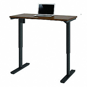 Electric Adj. Table,24 in. D,Bark Gray