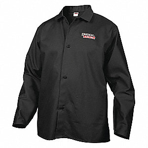 "Black 100% 9 oz. Flame-Resistant Cotton Welding Jacket, Size: XL, 33"" Length"