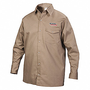 Flame-Resistant Collared Shirt,Khaki,M