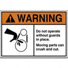 Warning: Do Not Operate Without Guards In Place. Moving Parts Can Crush and Cut. (Belt Hazard Pictogram) Signs