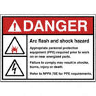 Danger: Arc Flash And Shock Hazard Appropriate Personal Protection Equipment (PPE) Required Prior to Work On or Near Energized Parts. Failure to Comply May Result In Shocks, Burns, Injury or Death. Refer to NPFA 70E for PPE Requirements. Signs