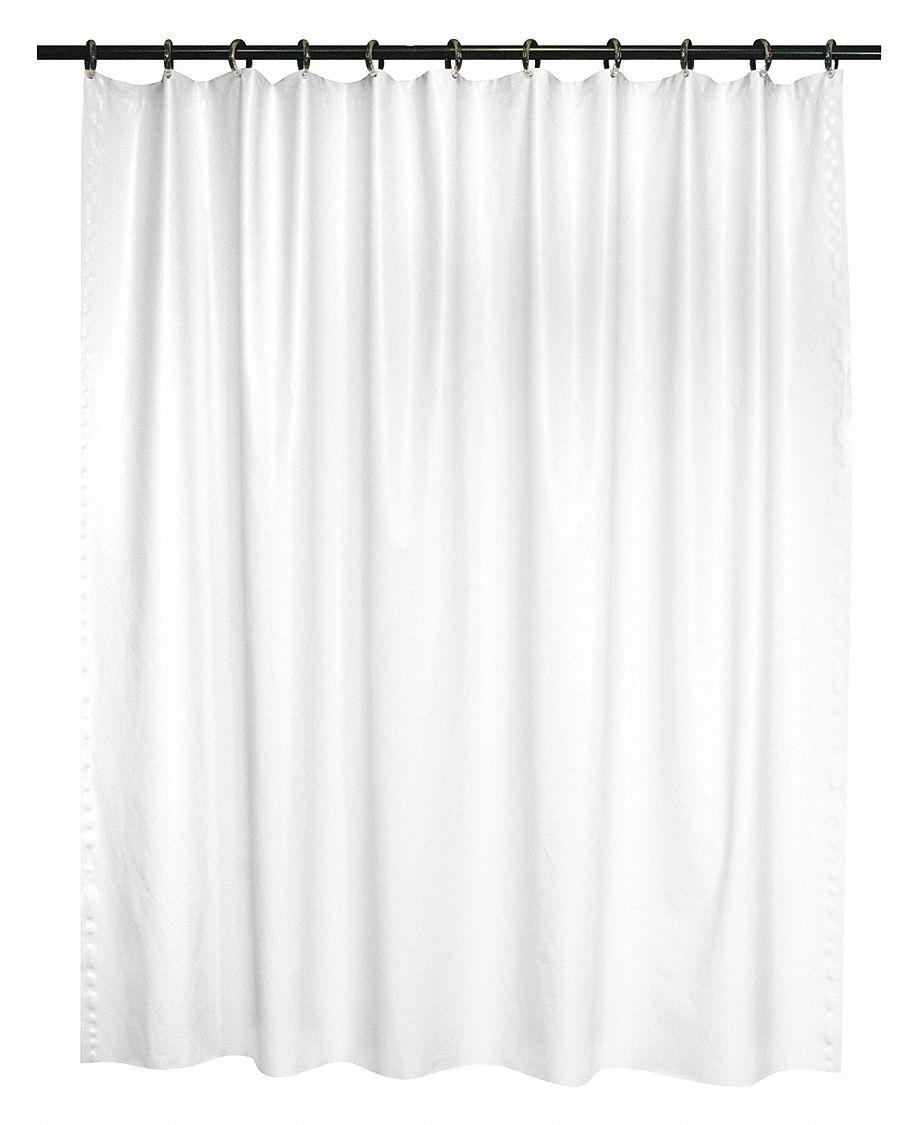 ABILITY ONE 78H X 36W Vinyl Shower Curtain White Standard Grommets
