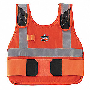 Cooling Vest, 4 hr. Cooling Time, Orange, S/M