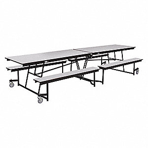 Mobile Bench Table,20in Bench H,12 Seats