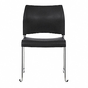Chrome Steel Stacking Chair with Black Seat Color, 1EA