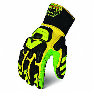 Impact Gloves,2XL,Yellow/Green/Black,PR