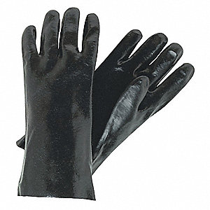 37.50 mil PVC Chemical Resistant Gloves, Interlock Lining, Black, Size L
