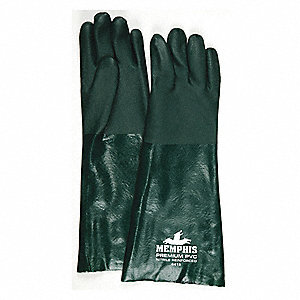 59.00 mil PVC Chemical Resistant Gloves, Green, Size L, 12 PK