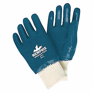 Smooth Nitrile Coated Gloves, Glove Size: L, Blue
