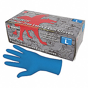 "12"" Powder Free Unlined Natural Rubber Latex Disposable Gloves, Blue, Size  L, 50PK"