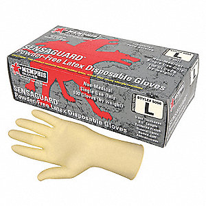 "9-1/2"" Powder Free Unlined Natural Rubber Latex Disposable Gloves, White, Size  M, 100PK"