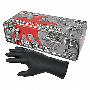 "12"" Powder Free Unlined Nitrile Disposable Gloves, Black, Size  2XL, 100PK"