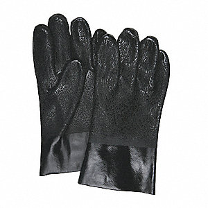 59.00 mil PVC Chemical Resistant Gloves, Black, Size L, 12 PK