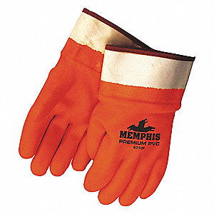 Gloves,PVC,L,12 in L,Foam,Smooth,PR,PK12