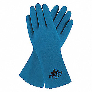 Chemical Resistant Gloves, Standard Weight Thickness, Interlock Lining, Blue, PR 1