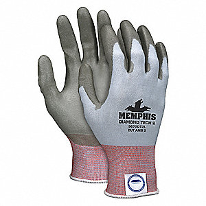 Polyurethane Cut Resistant Gloves, ANSI/ISEA Cut Level 2 Lining, Blue, L, PR 1
