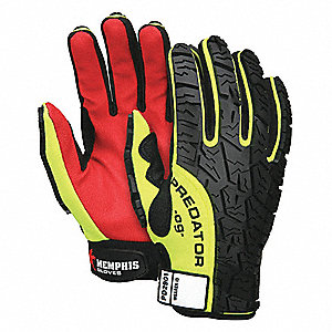 General Utility Mechanics Gloves, Polyurethane Palm Material, Hi-Visibility Yellow/Black/Red, L, PR