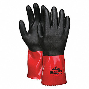 Chemical Resistant Gloves, Standard Weight Thickness, Nylon Lining, Black/Red, PK 12