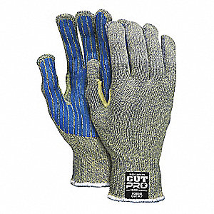 PVC Cut Resistant Gloves, ANSI/ISEA Cut Level 4 Lining, Multi, L, PR 1