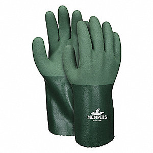 Chemical Resistant Gloves, Standard Weight Thickness, Cotton/Polyester Lining, Green, PK 12