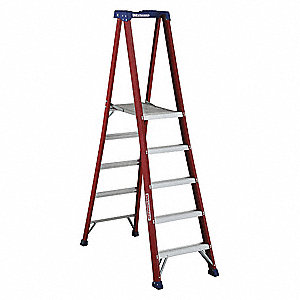 "Fiberglass Platform Stepladder, 5 ft. Ladder Height, 4 ft. 9"" Platform Height, 300 lb."