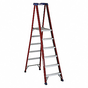 "Fiberglass Platform Stepladder, 8 ft. 6"" Ladder Height, 5 ft. 8"" Platform Height, 300 lb."