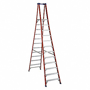 "Fiberglass Platform Stepladder, 14 ft. 3"" Ladder Height, 11 ft. 5"" Platform Height, 300 lb."