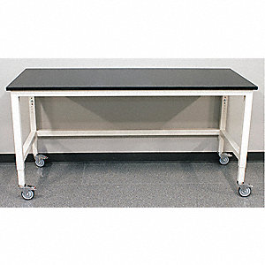 "96"" x 30"" x 30"" Steel Adjustable Table with 960 lb. Load Capacity, Pearl White"