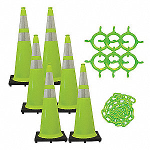 Traffic Cone Kit,Green,Gloss,36 in.