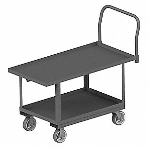Two Shelf Raised Platform Truck, Steel Deck Material, Steel Frame Material, 2000 lb. Load Capacity