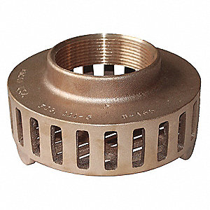 "Side Round Perforations Suction Strainer, Bronze, 6"" Diameter"