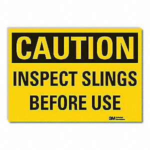 "Facility, Caution, Vinyl, 10"" x 14"", Adhesive Surface, Engineer"