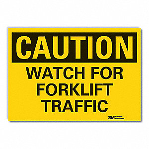 "Lift Truck Traffic, Caution, Vinyl, 10"" x 14"", Adhesive Surface, Engineer"