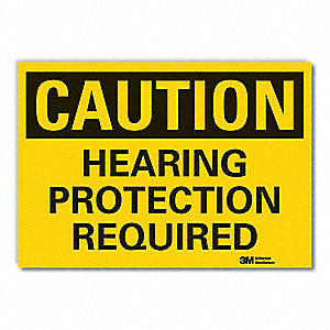 Caution Sign,7 in H,Vinyl,Hearing Protec