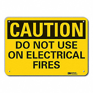 "Electrical Hazard, Caution, Recycled Aluminum, 10"" x 14"", With Mounting Holes, Engineer"
