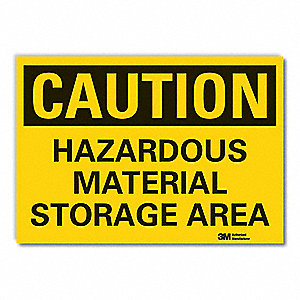 "Chemical, Gas or Hazardous Materials, Caution, Vinyl, 3-1/2"" x 5"", Adhesive Surface, Engineer"
